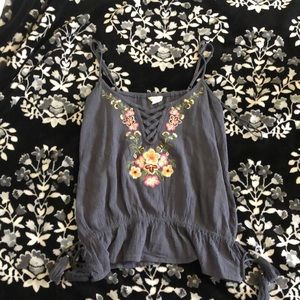 grey embroidered floral shirt with tassels